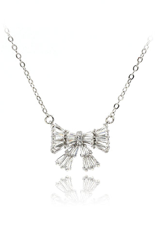 little crown silver pendant crystal necklace
