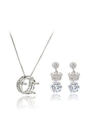 noble crystal earrings necklace set