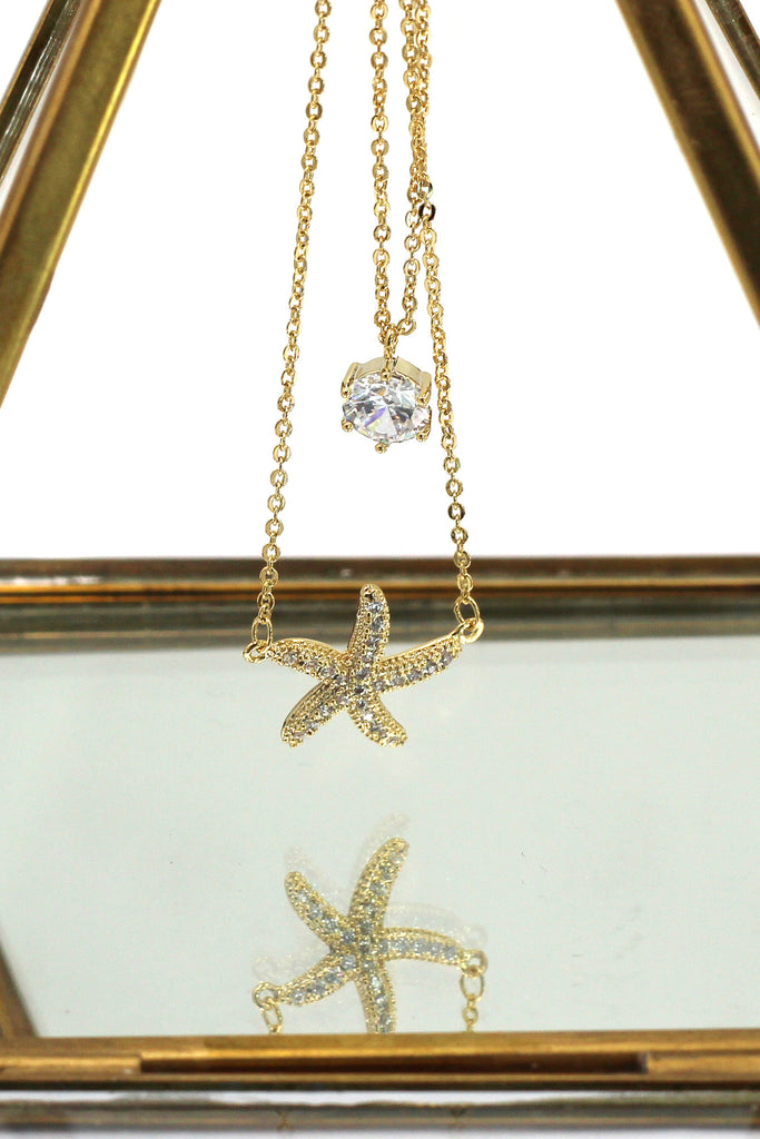 duplexes mini starfish crystal necklace