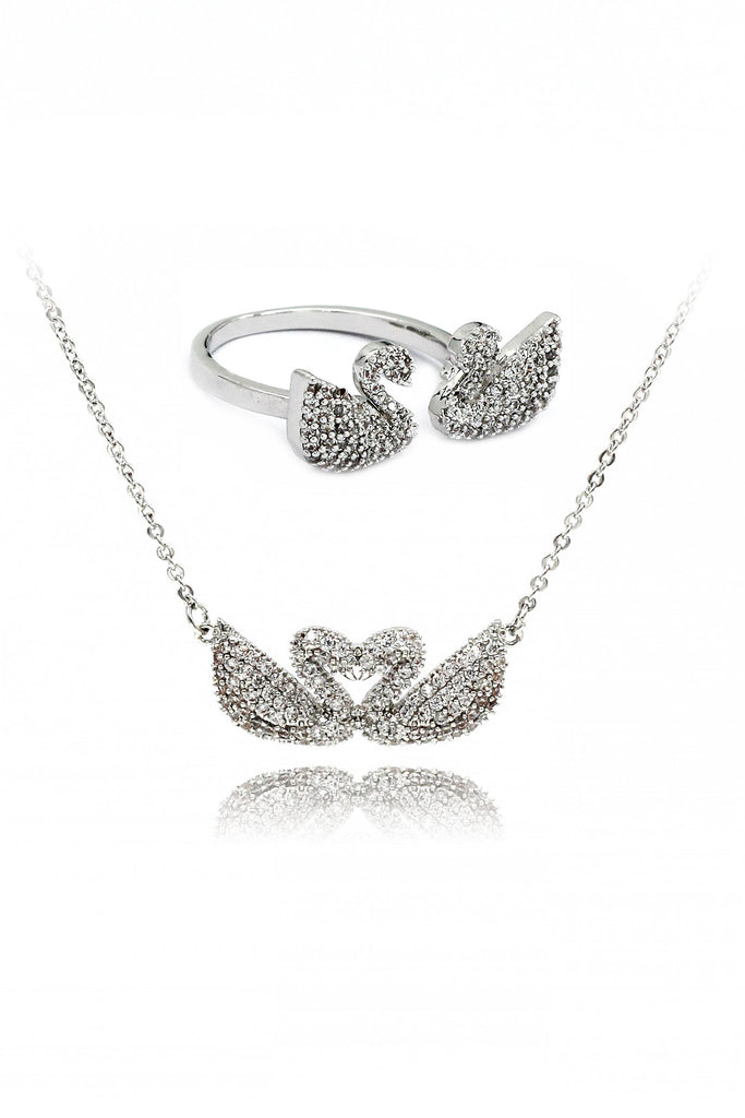 double swan ring necklace two piece set
