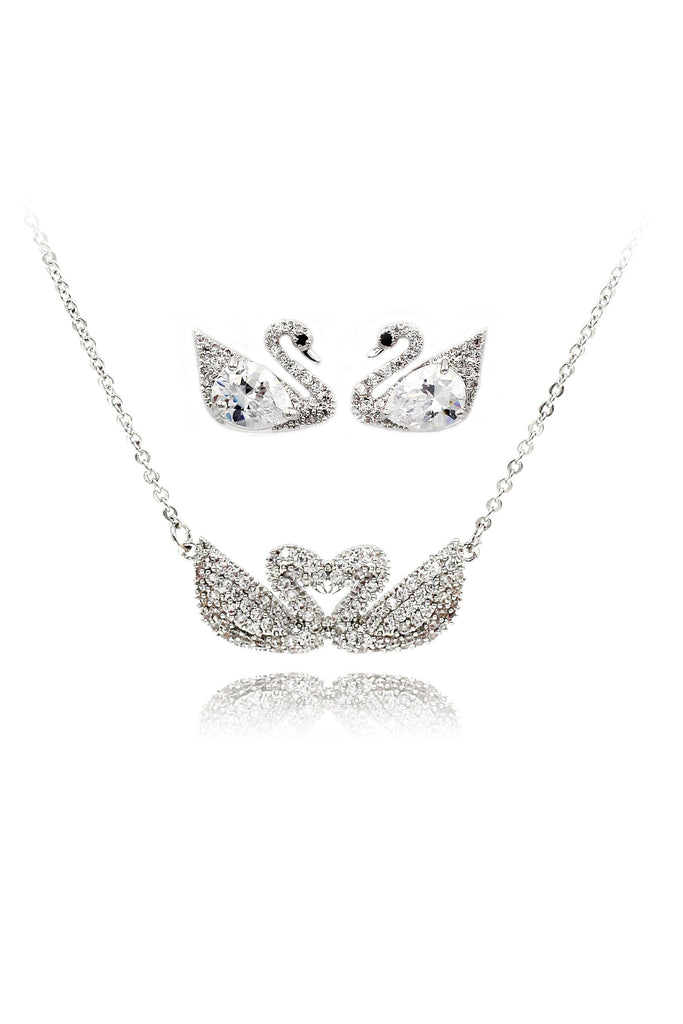 simple crystal swan earrings necklace set