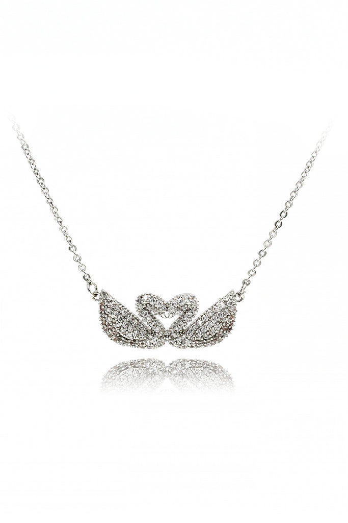silver double swan necklace