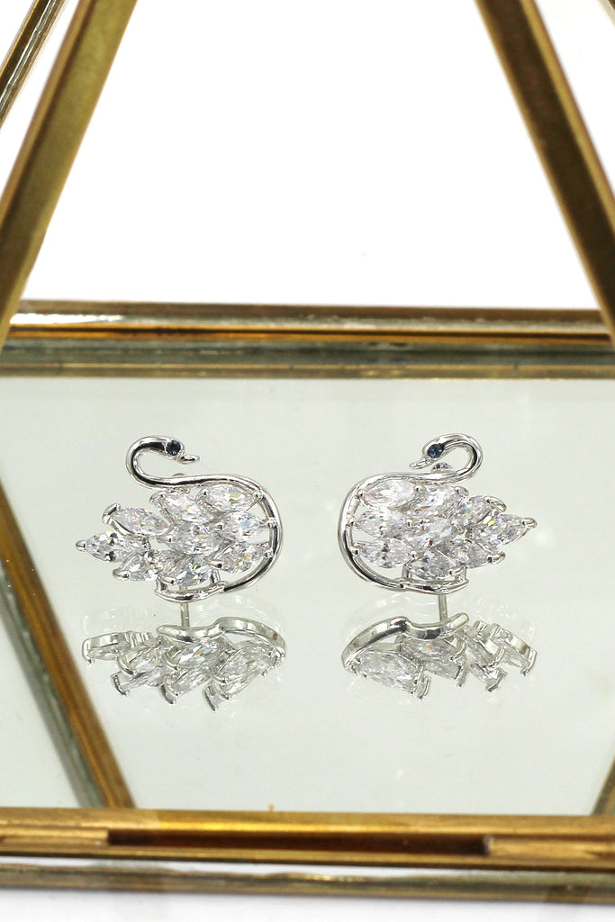 shiny crystal swan earrings necklace set