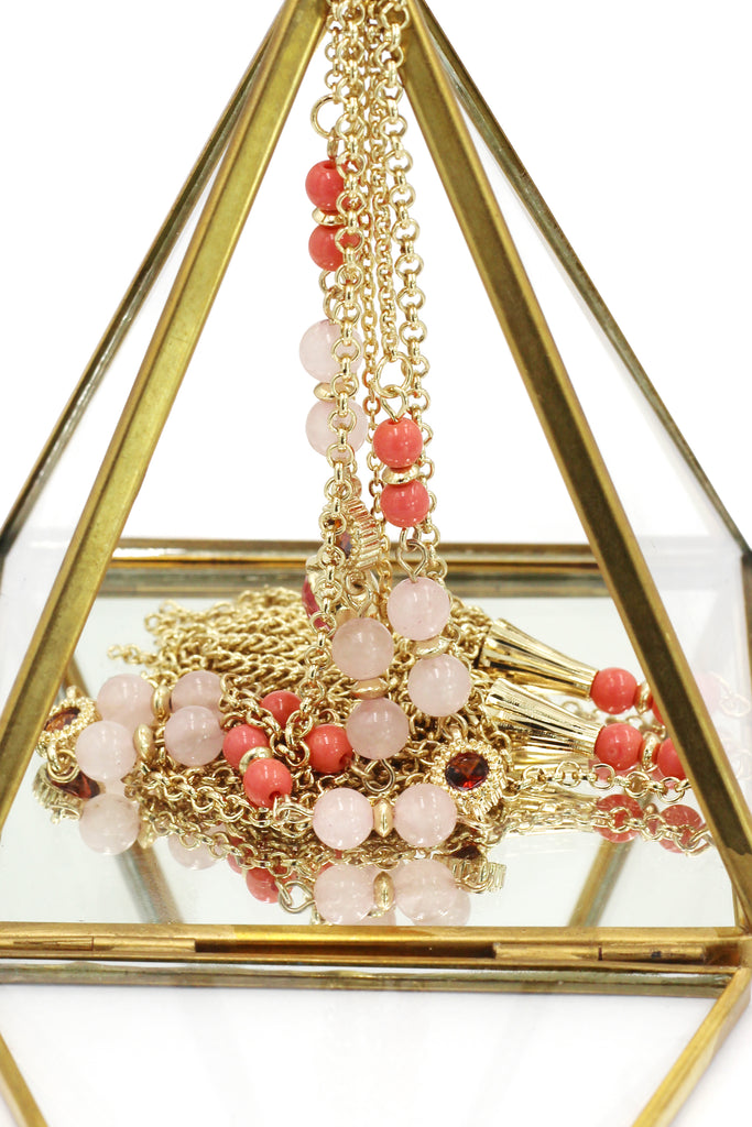 fashion tassel golden crystal beads necklace