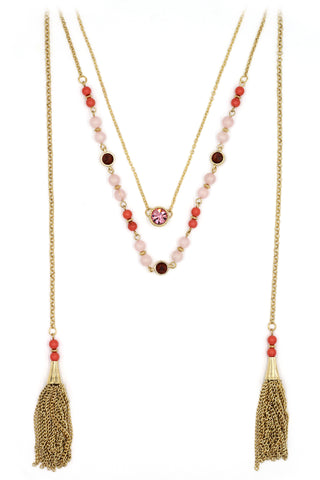 simple duplexes crystal necklace