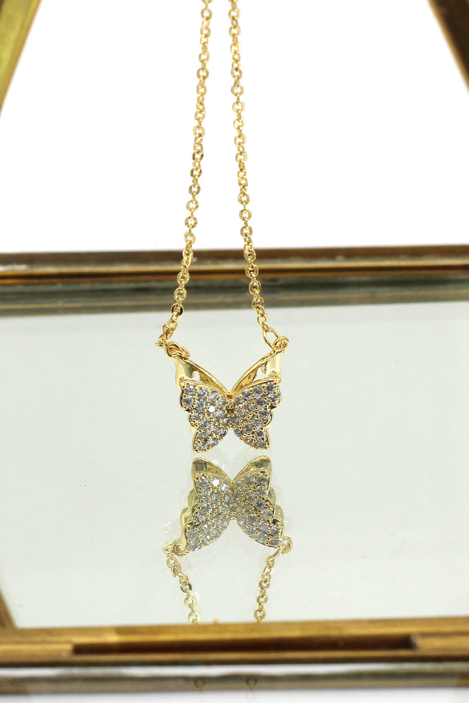 mini crystal butterfly clavicle necklace