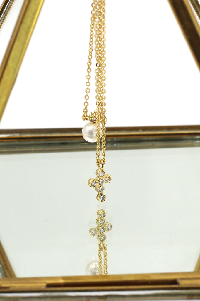 mini crystal cross pendant pearl earring set