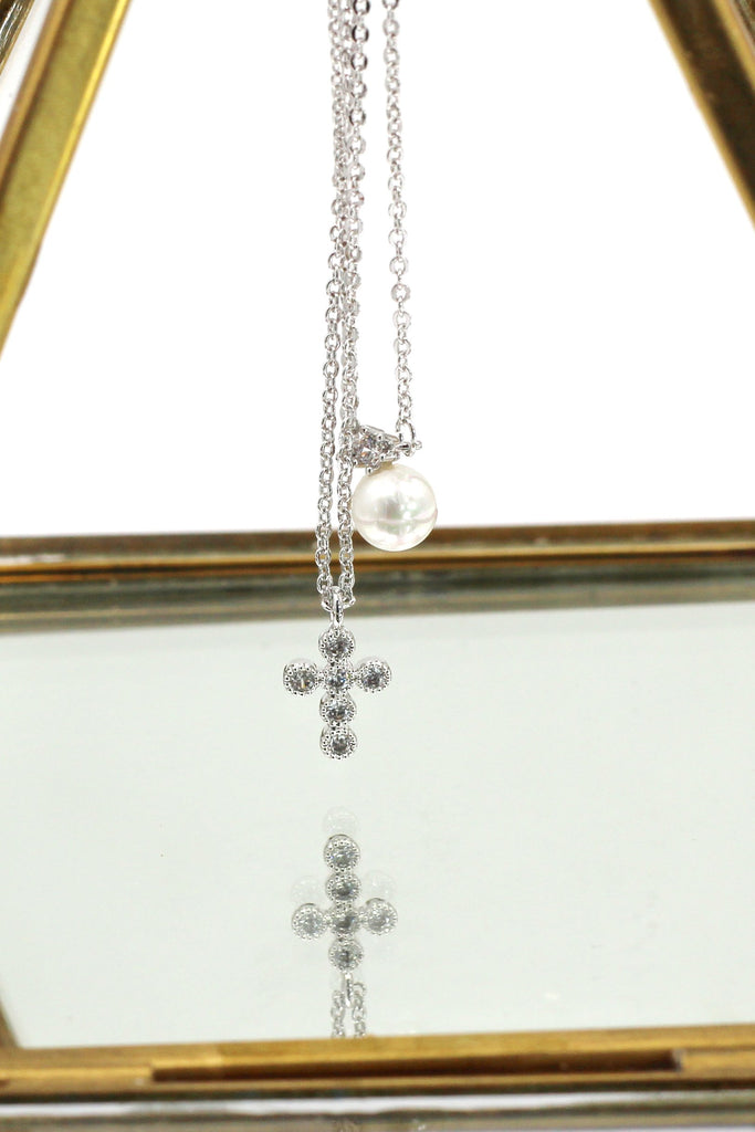 double chain pearl earring necklace set
