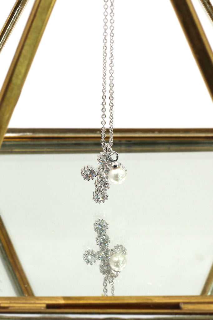 mini cross crystal and pearl silver necklace