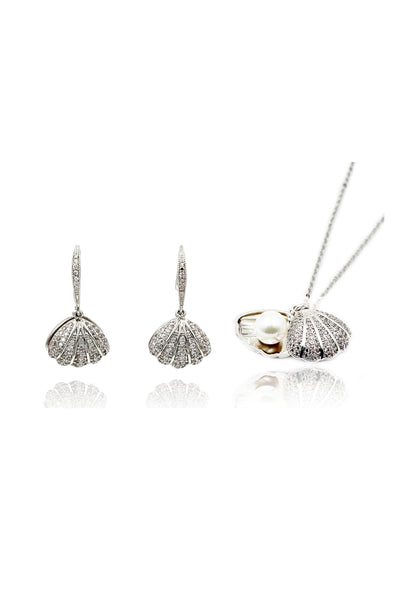 shiny shell pearl silver necklace earrings set