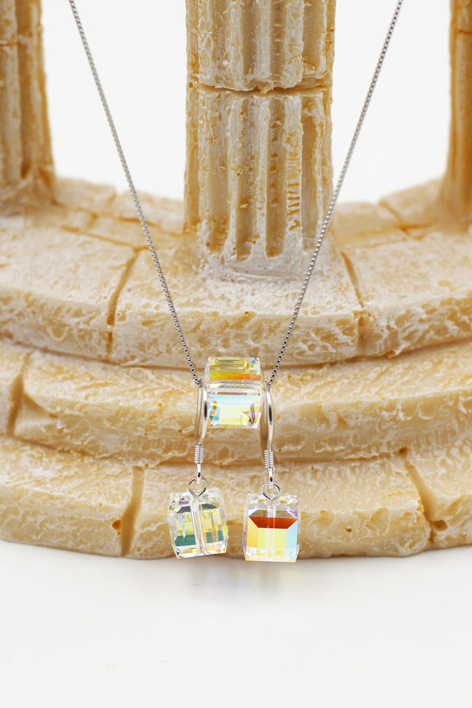 simple square crystal necklace hook earring set