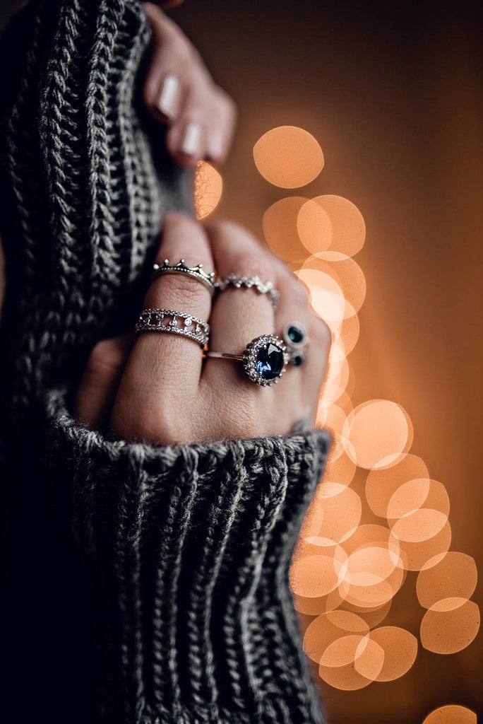 special crystal silver ring