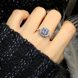 shining bright crystal silver ring