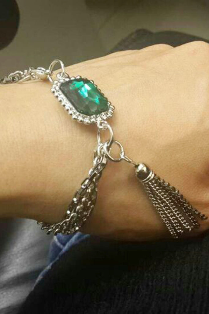 Simple green crystal silver bracelet
