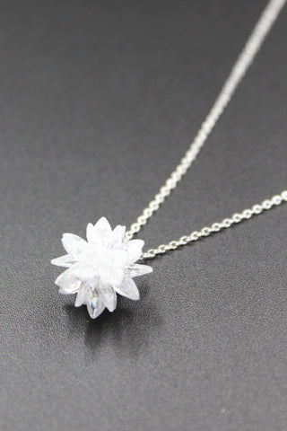 elegant sparkling white crystal necklace