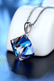 fashion blue necklace earrings crystal set
