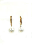 pearl pendant crystal earrings