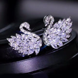 fashion crystal swan ring earring set