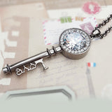 fashion key love letter crystal necklace
