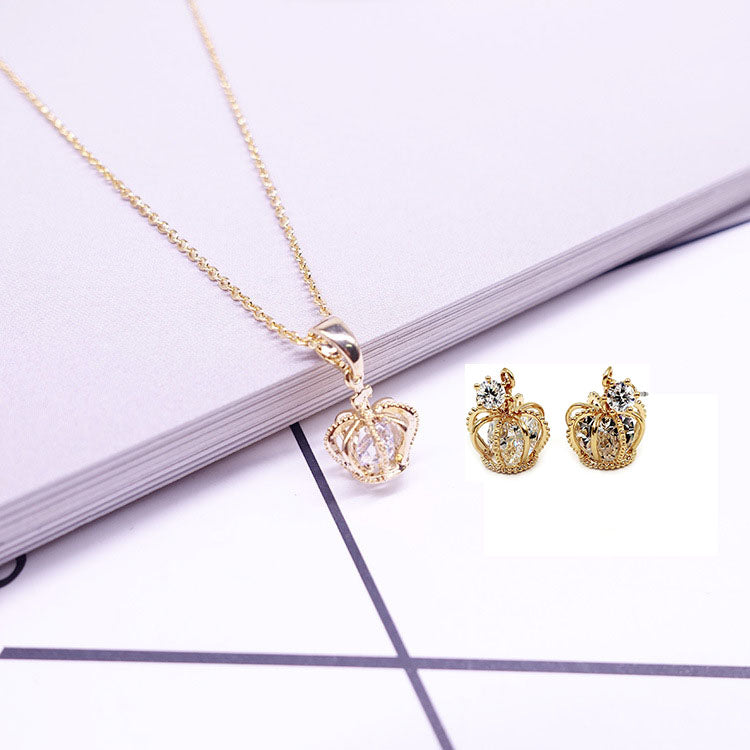 fashion crown crystal earrings necklace set