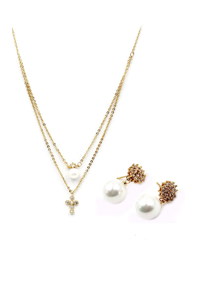Golden Pearl Crystal earrings necklace set