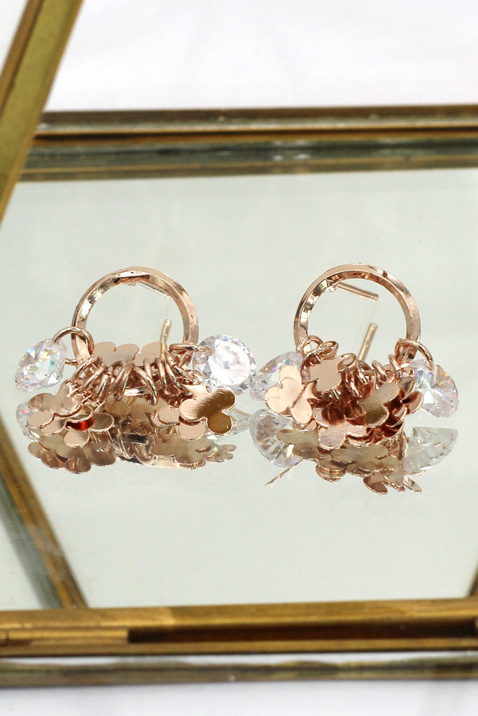Elegant Rose gold Crystal earrings necklace set