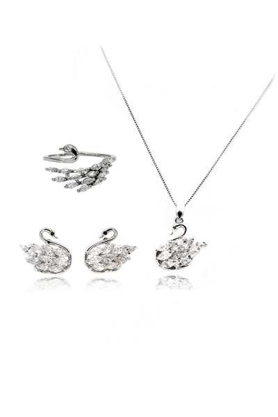 Crystal swan earrings necklace set