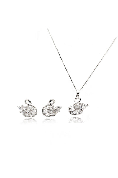 Fashion Crystal swan earrings necklace set