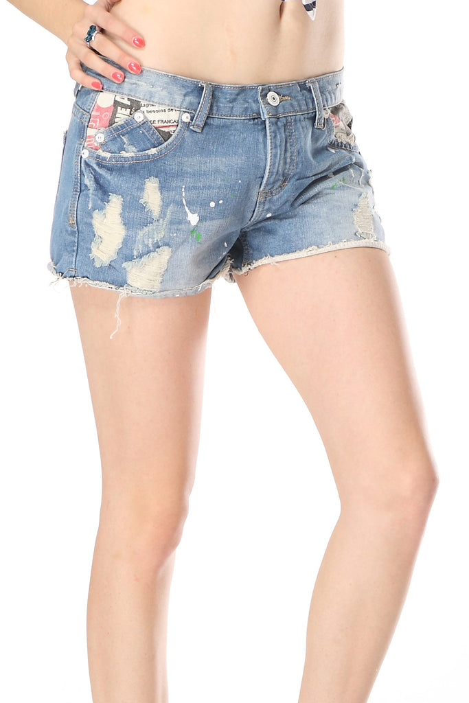 Print fabric denim shorts
