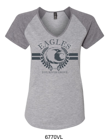 2019/2020 FRG Eagles Spiritwear -Ladies Vneck Ragland T-Shirt- Design2