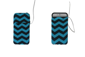 Electric Blue and Black Chevron Cell Phone Armband