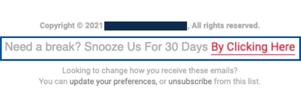 Snooze footer example