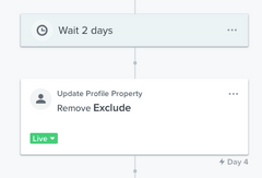 Removing an Exclude property inside of Klaviyo