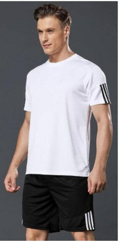 Elite Polyester Spandex Self Pattern Sports Tees And Shorts Set For Men- Pa