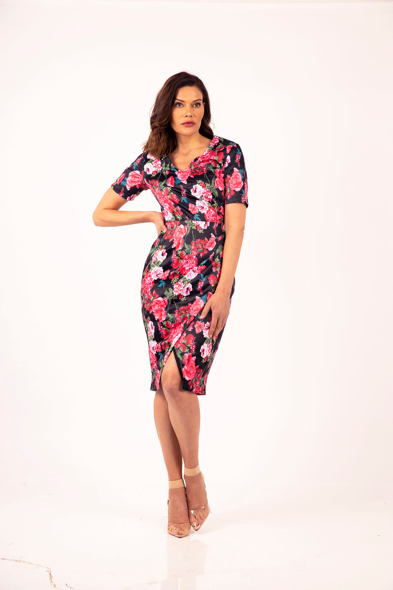 Dark Flower V neck Dress