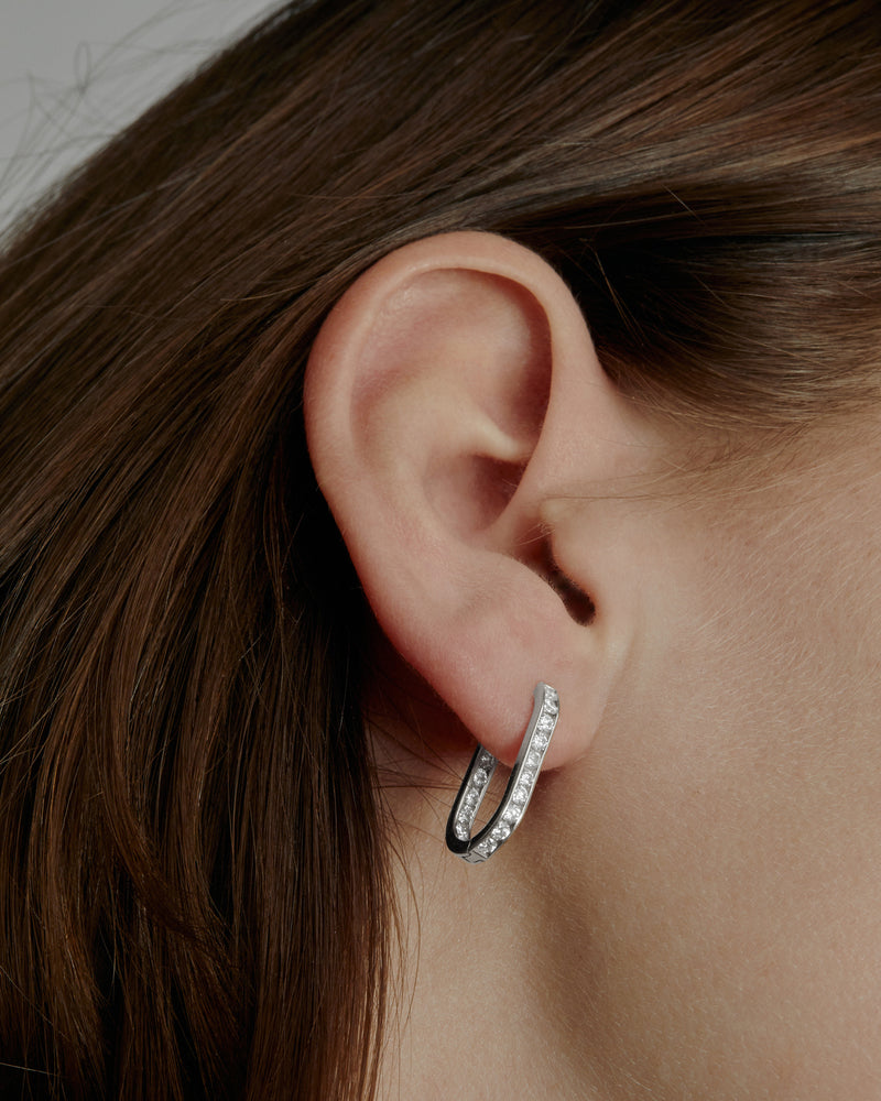 Diamond Channel Hoops White Gold | Sarah & Sebastian onBody