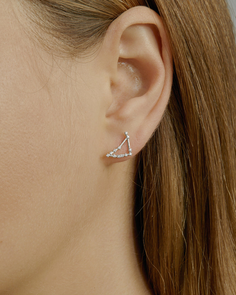 Single Celestial Capricorn Earring White Gold | Sarah & Sebastian onBody