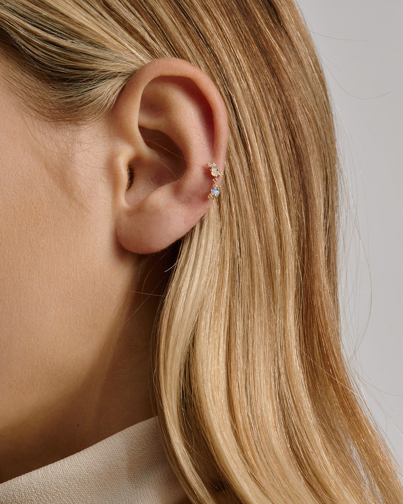 Chroma Opal Cartilage Earring Gold | Sarah & Sebastian onBody