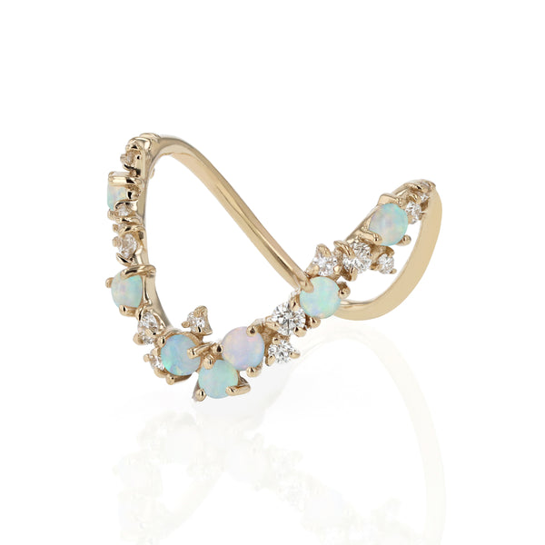 Statement Chroma Opal V Ring Gold | Sarah & Sebastian