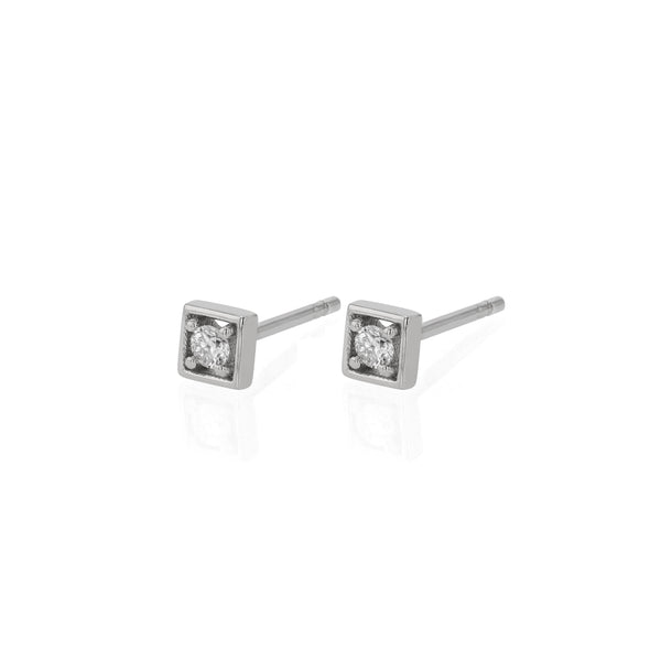 Deco Square Diamond Earrings White Gold | Sarah & Sebastian