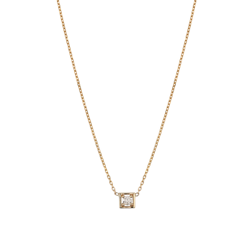 Deco Square Diamond Necklace Gold | Sarah & Sebastian