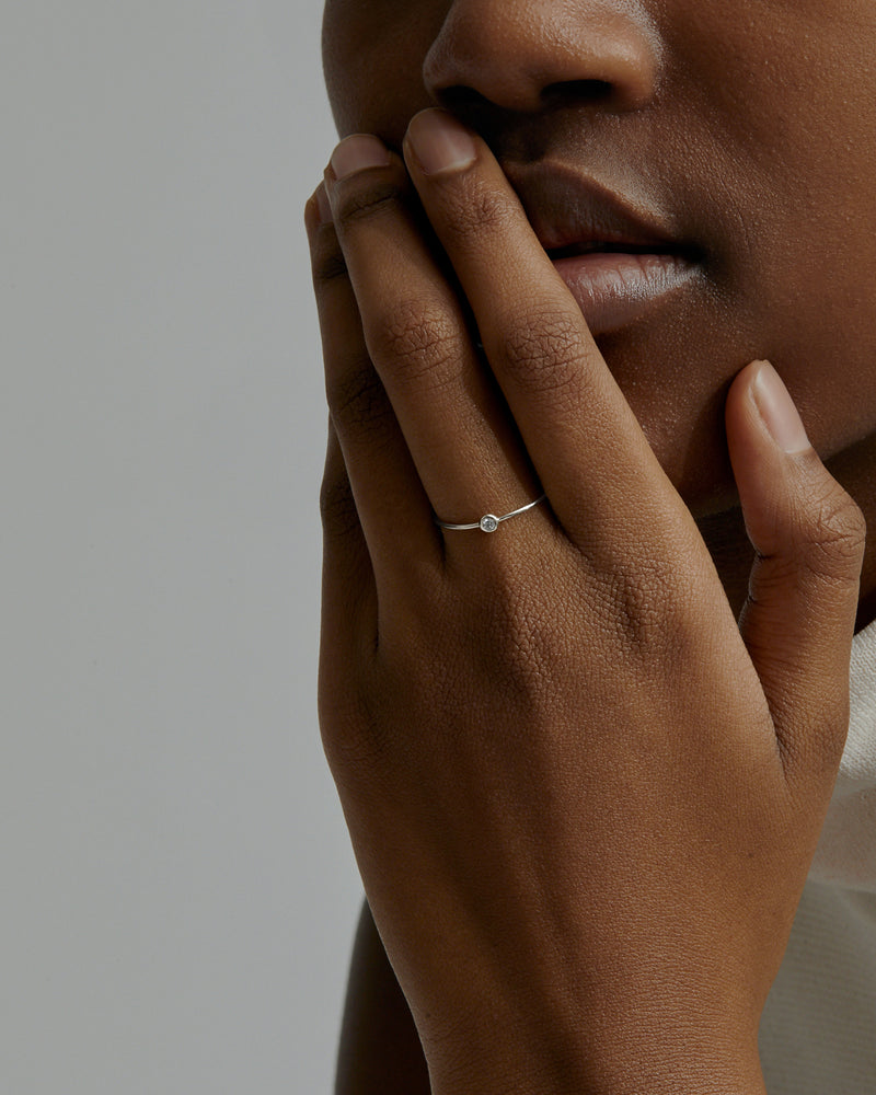 Diamond Lunette Ring White Gold | Sarah & Sebastian onBody