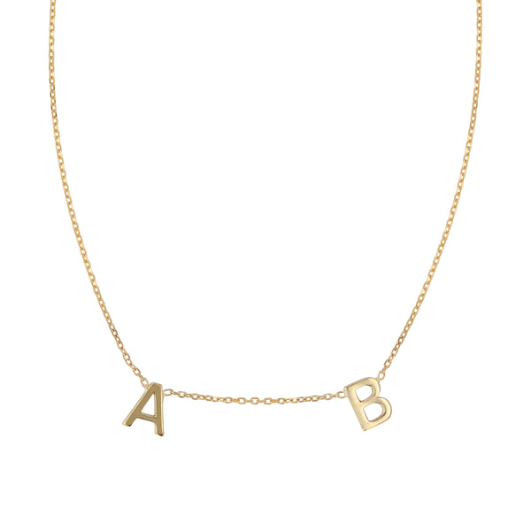 Double Petite Letter Pendant Necklace Gold | Sarah & Sebastian
