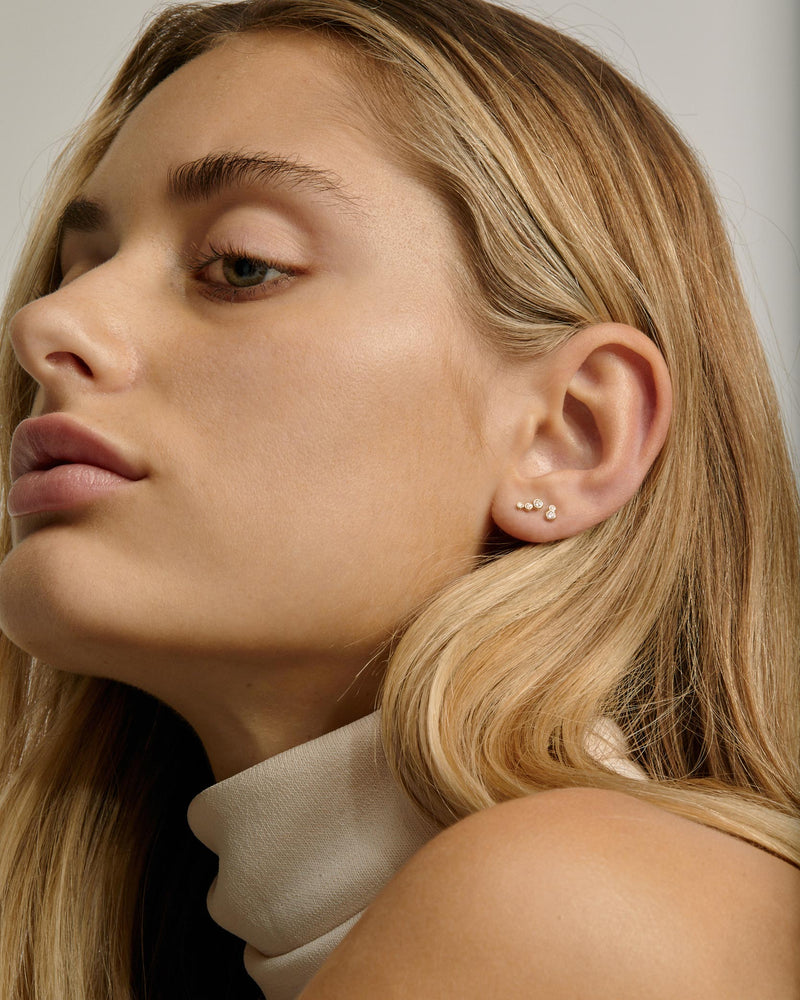 Fine Bloom Diamond Earrings Gold | Sarah & Sebastian onBody