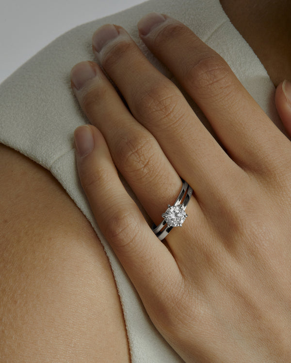 Wedding Band | Fine Square White Gold | Sarah & Sebastian onBody