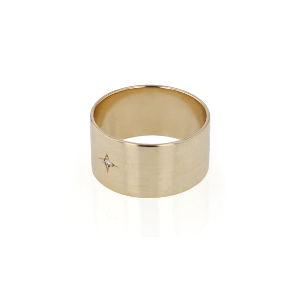 Insignia Diamond Cigar Ring Yellow Gold | Sarah & Sebastian
