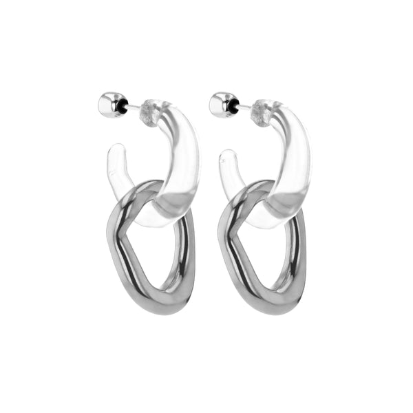Statement Jelly Metal Hoops Silver | Sarah & Sebastian