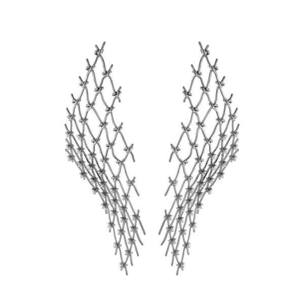 Large Net Earrings Silver | Sarah & Sebastian
