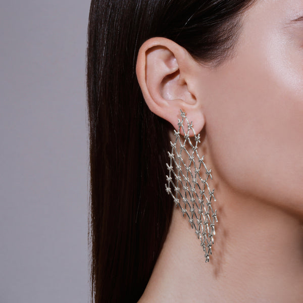 Large Net Earrings Silver | Sarah & Sebastian hoverimage