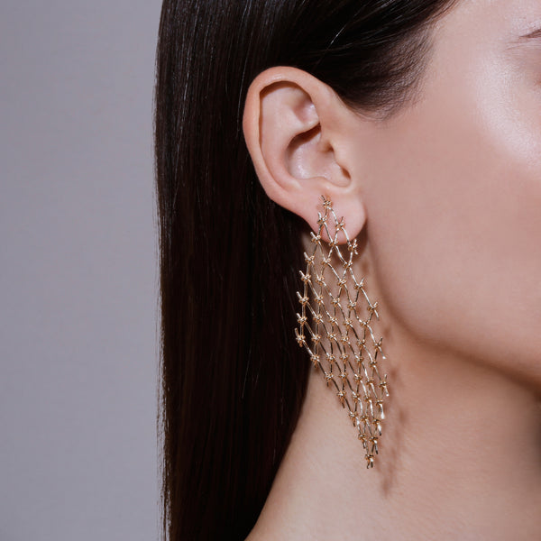 Fine Net Earrings Yellow Gold | Sarah & Sebastian hoverimage